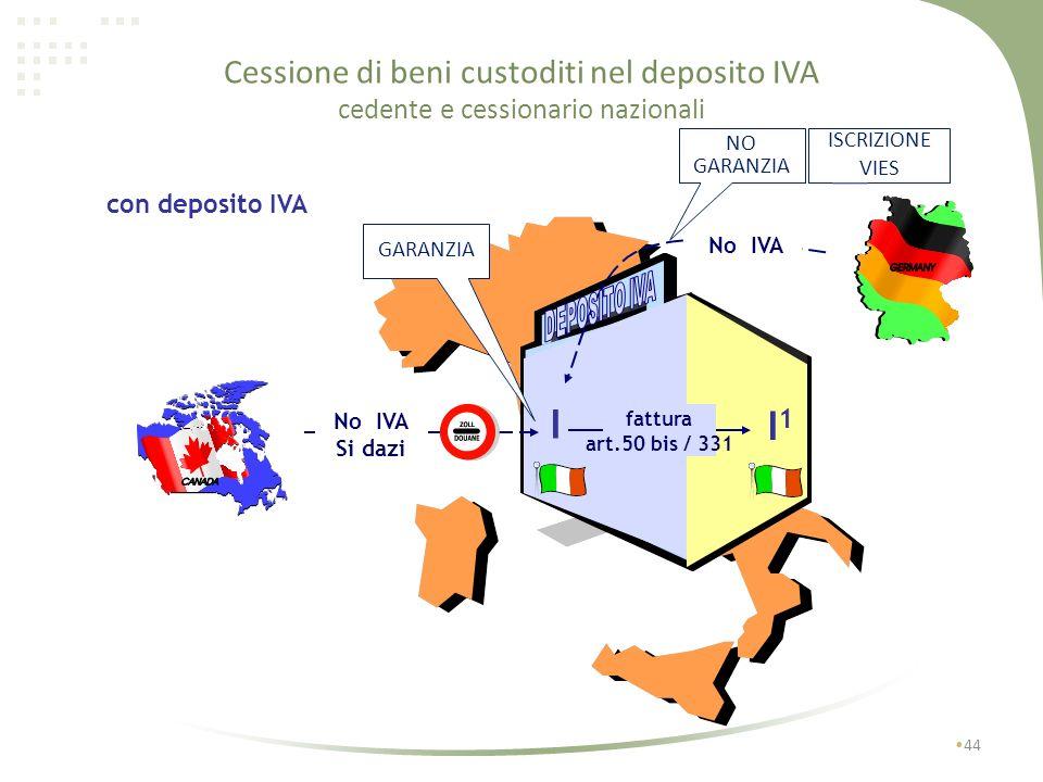 Cessione di beni custoditi nel deposito IVA cedente e cessionario nazionali