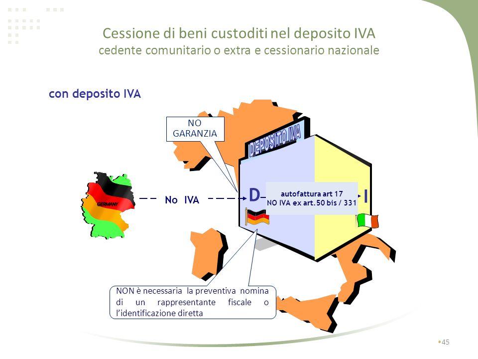 Cessione di beni custoditi nel deposito IVA cedente comunitario o extra e cessionario nazionale