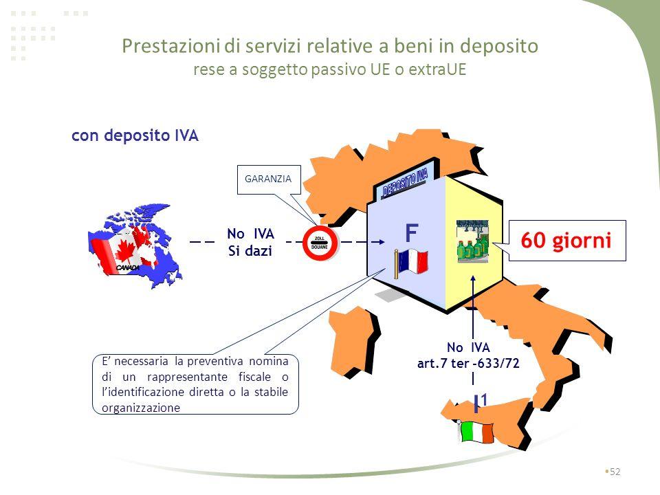 Prestazioni di servizi relative a beni in deposito rese a soggetto passivo UE o extraUE