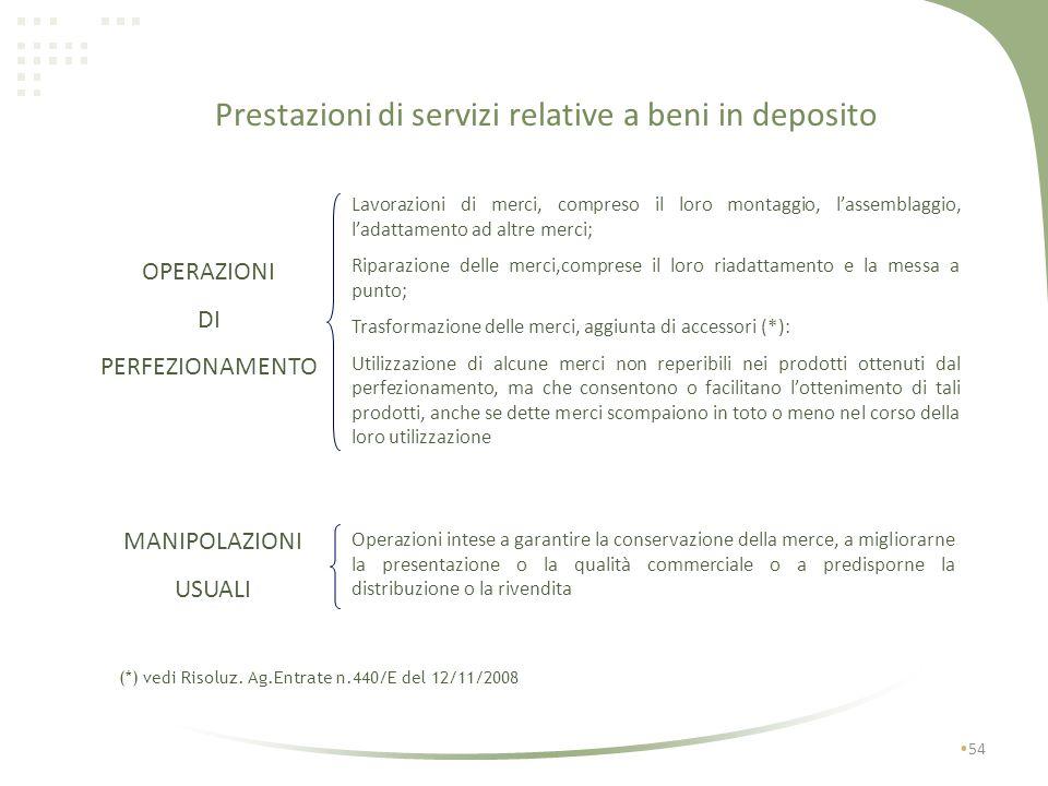 Prestazioni di servizi relative a beni in deposito