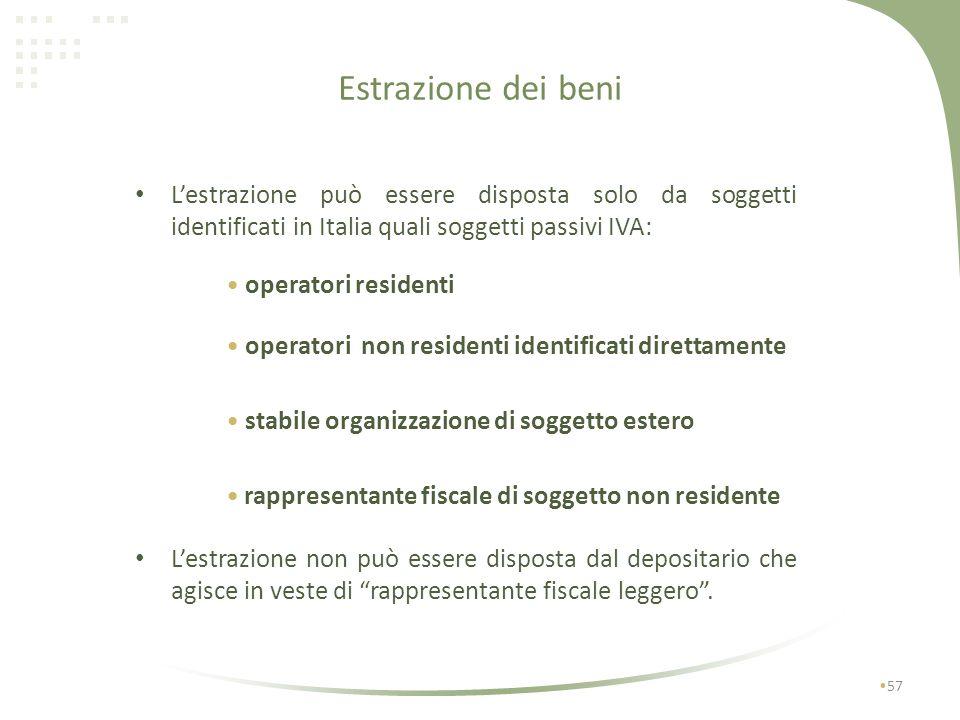 Estrazione dei beni L'estrazione può essere disposta solo da soggetti identificati in Italia quali soggetti passivi IVA: