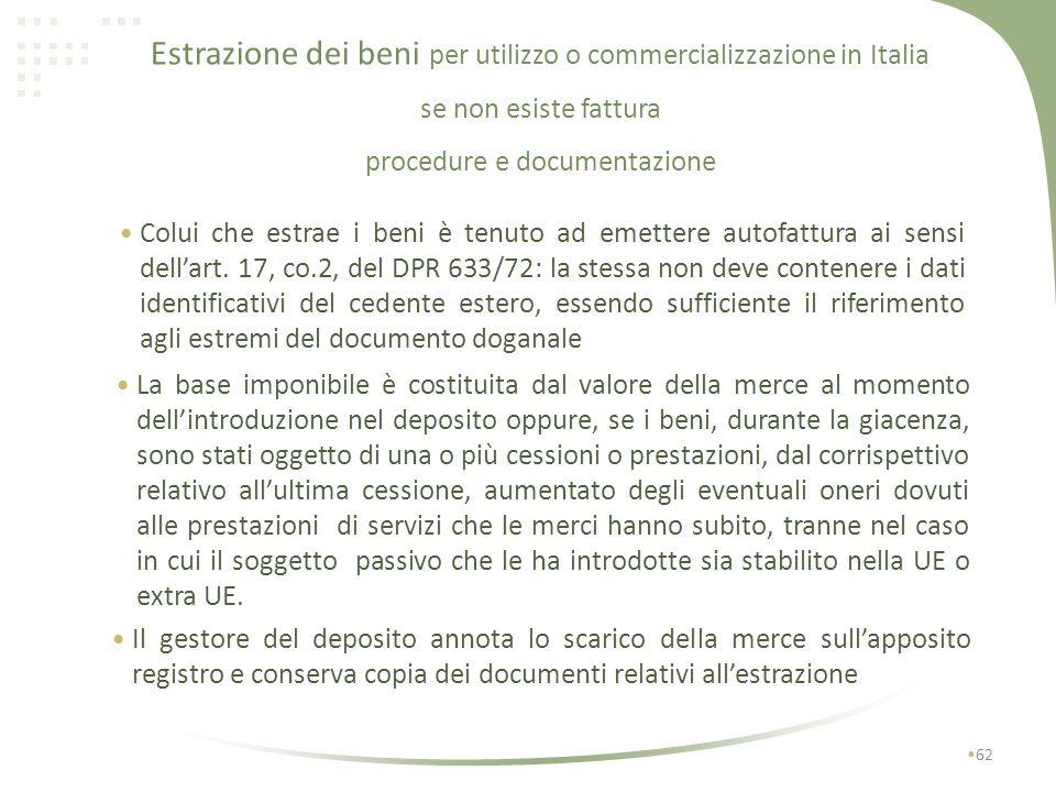 Estrazione dei beni per utilizzo o commercializzazione in Italia se non esiste fattura procedure e documentazione