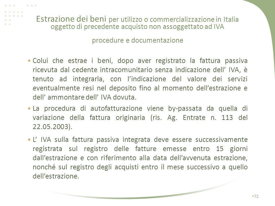 Estrazione dei beni per utilizzo o commercializzazione in Italia oggetto di precedente acquisto non assoggettato ad IVA procedure e documentazione