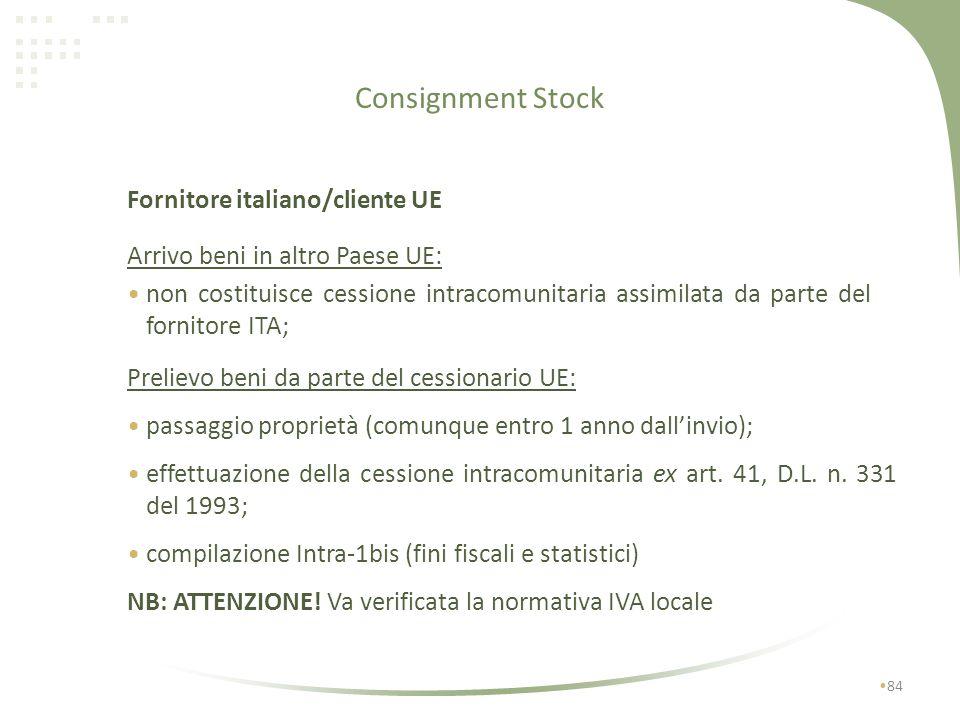 Consignment Stock Fornitore italiano/cliente UE