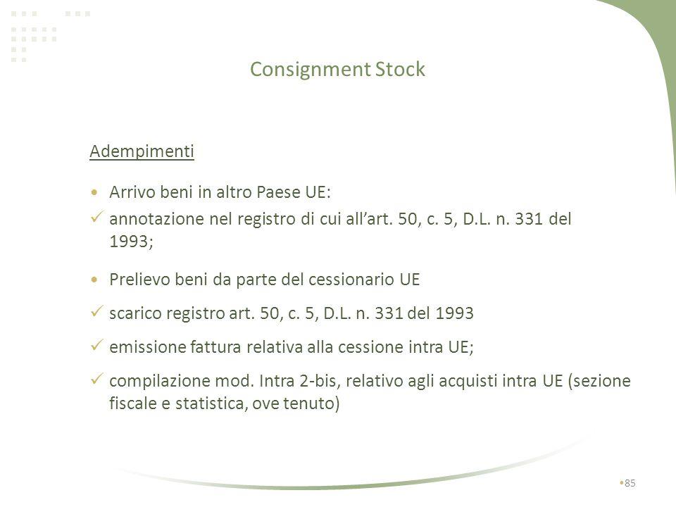 Consignment Stock Adempimenti Arrivo beni in altro Paese UE: