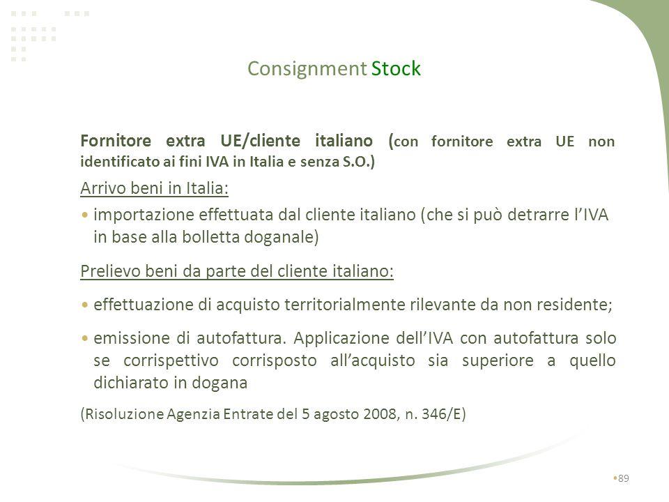 Consignment Stock Fornitore extra UE/cliente italiano (con fornitore extra UE non identificato ai fini IVA in Italia e senza S.O.)