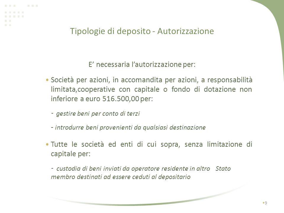 Tipologie di deposito - Autorizzazione