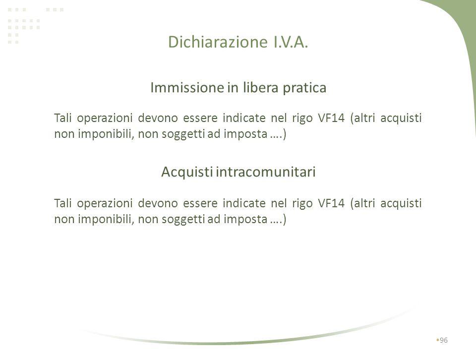 Dichiarazione I.V.A. Immissione in libera pratica