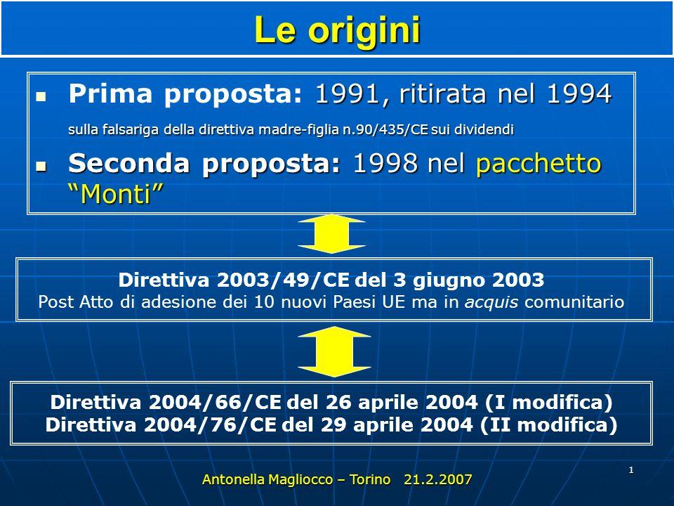 Le origini Prima proposta: 1991, ritirata nel 1994 sulla falsariga della direttiva madre-figlia n.90/435/CE sui dividendi.