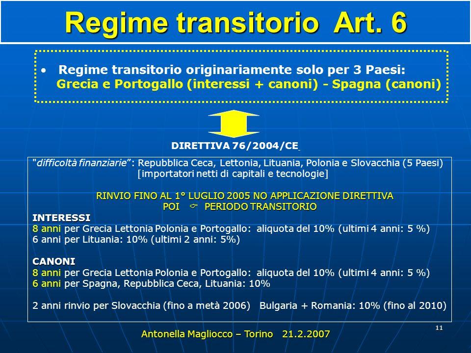 Regime transitorio Art. 6