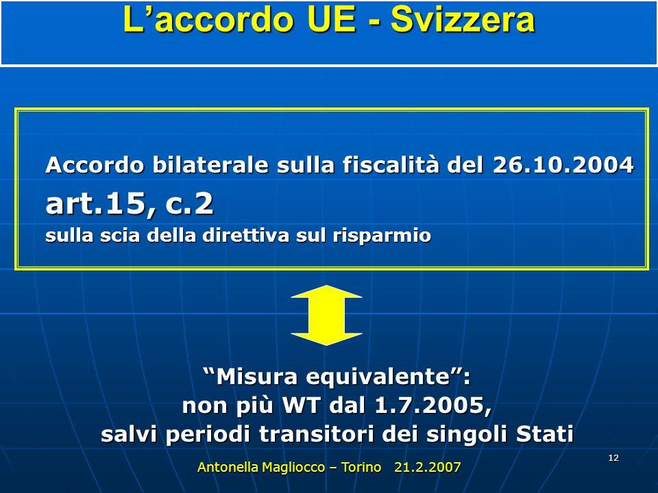 L'accordo UE - Svizzera