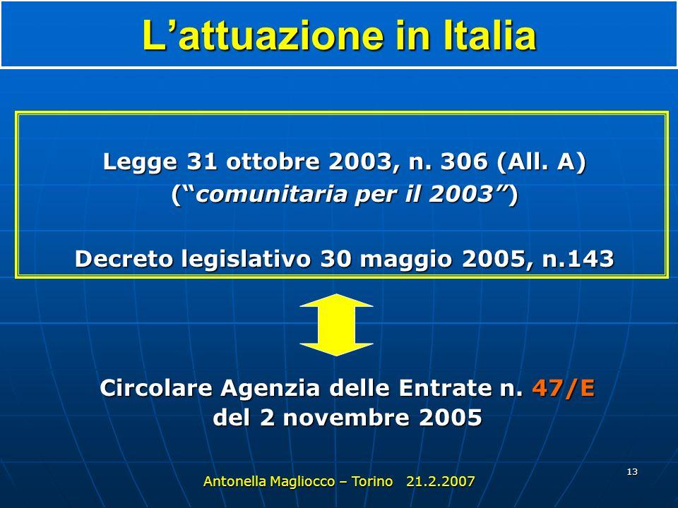 L'attuazione in Italia