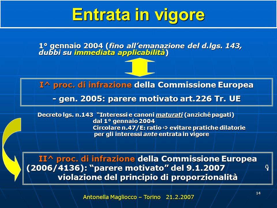 Entrata in vigore I^ proc. di infrazione della Commissione Europea