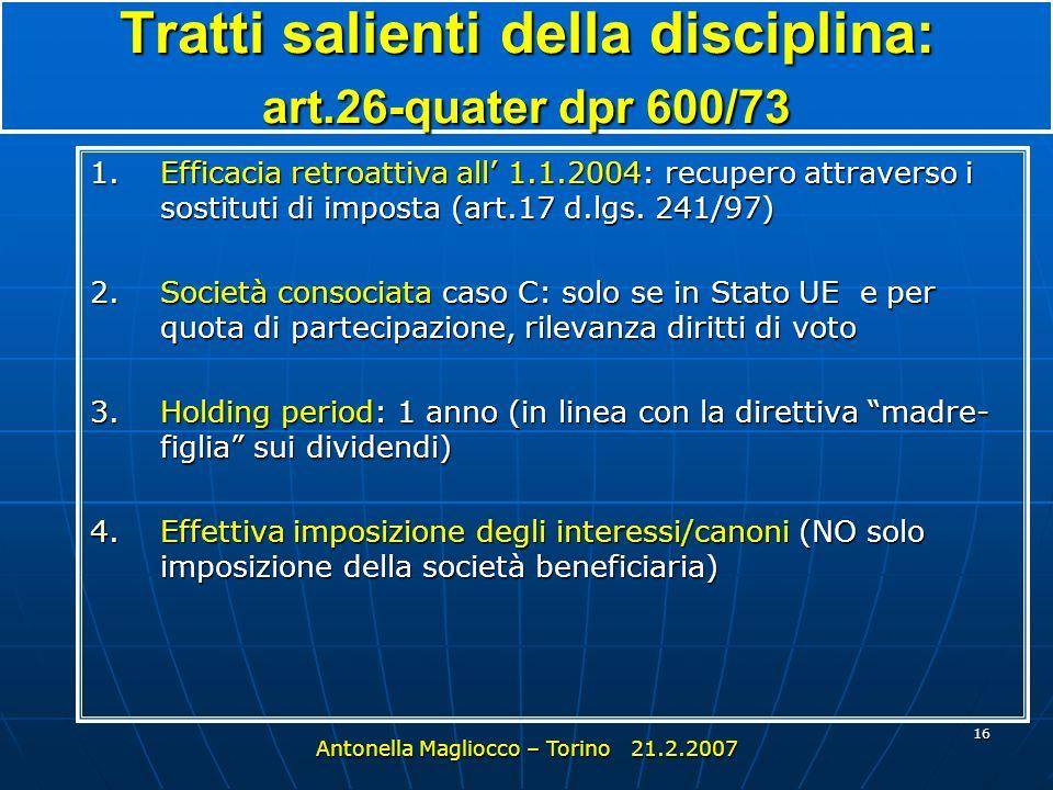Tratti salienti della disciplina: art.26-quater dpr 600/73