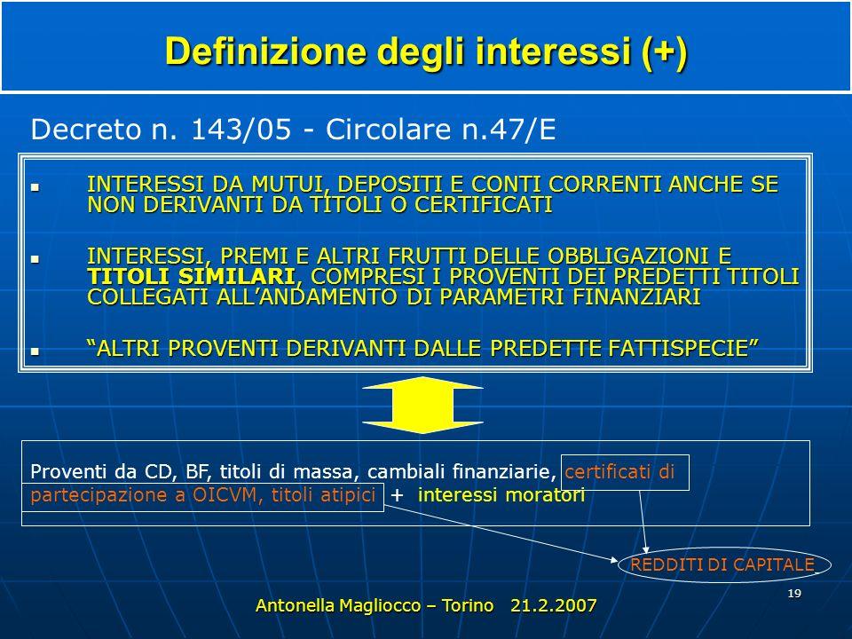 Definizione degli interessi (+)