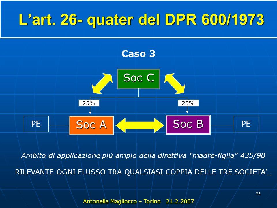 L'art. 26- quater del DPR 600/1973 Soc C Soc A Soc B Caso 3 PE PE