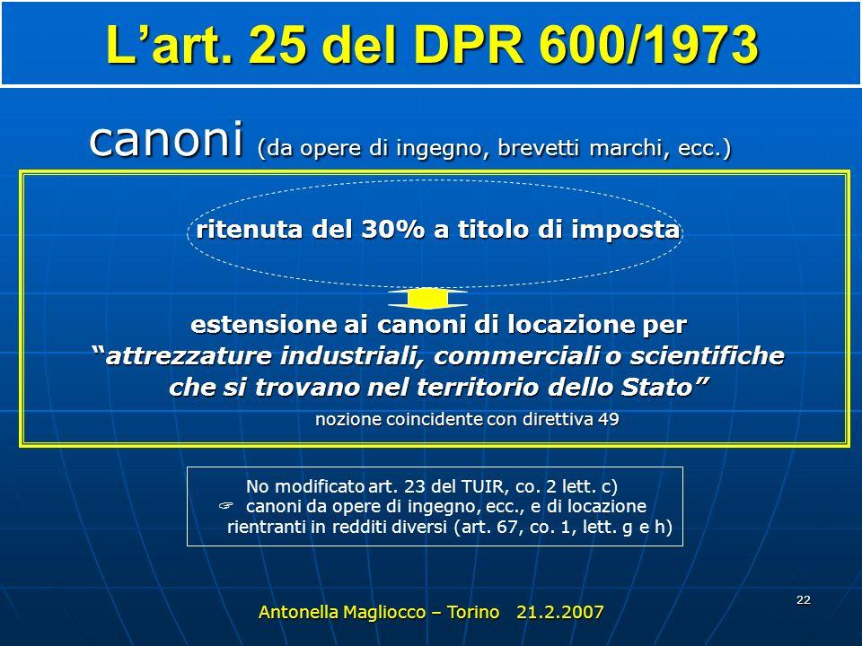L'art. 25 del DPR 600/1973 canoni (da opere di ingegno, brevetti marchi, ecc.) ritenuta del 30% a titolo di imposta.