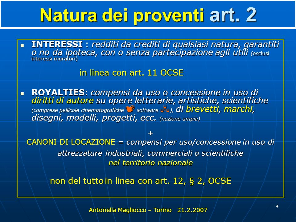 Natura dei proventi art. 2