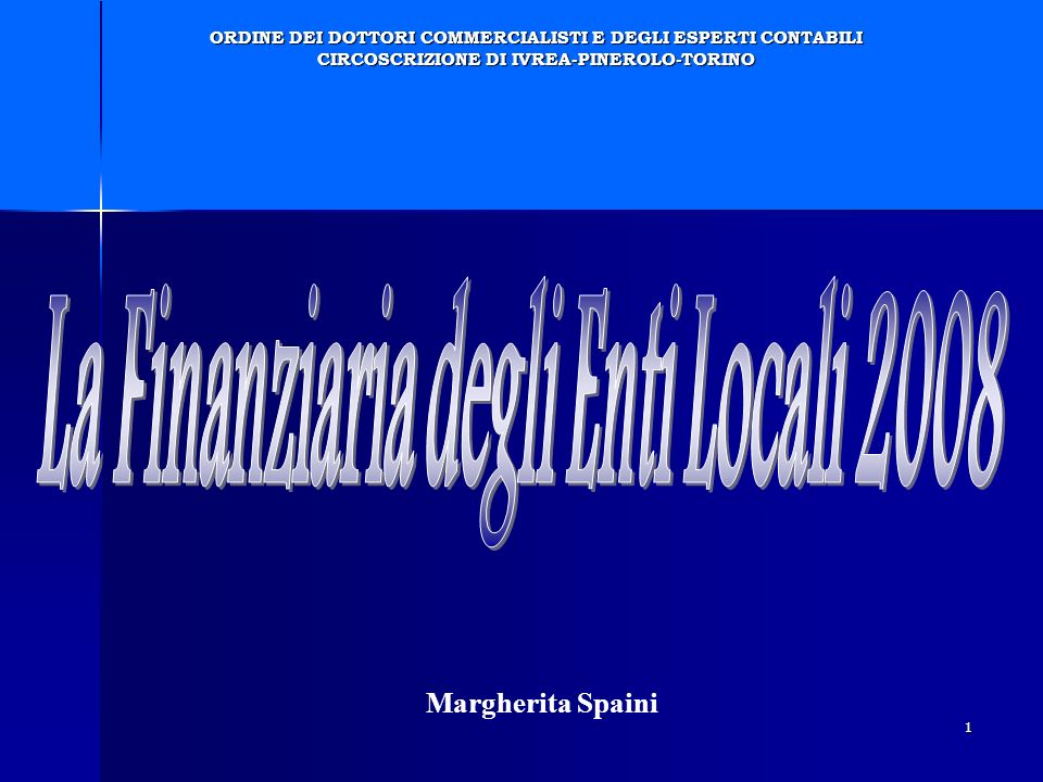 La Finanziaria degli Enti Locali 2008
