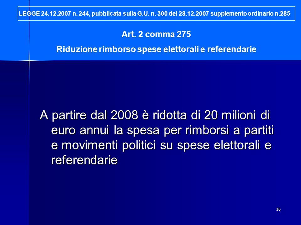 Riduzione rimborso spese elettorali e referendarie