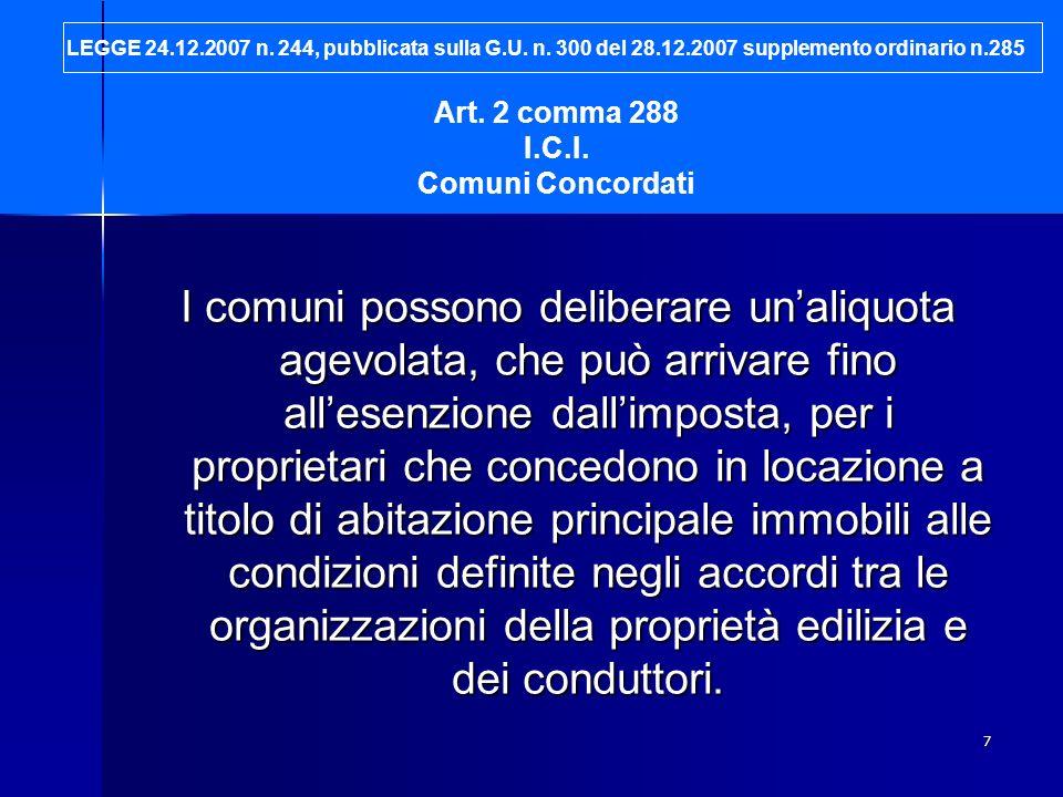 LEGGE 24. 12. 2007 n. 244, pubblicata sulla G. U. n. 300 del 28. 12