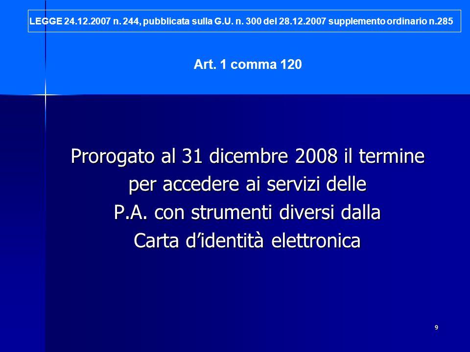 Prorogato al 31 dicembre 2008 il termine per accedere ai servizi delle