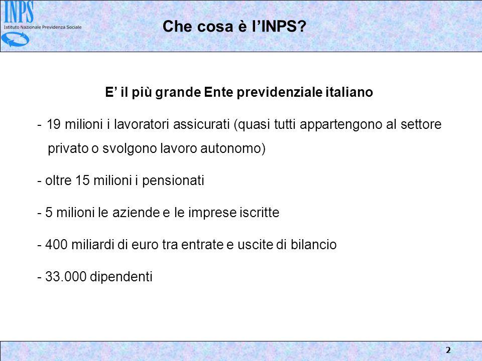 E' il più grande Ente previdenziale italiano