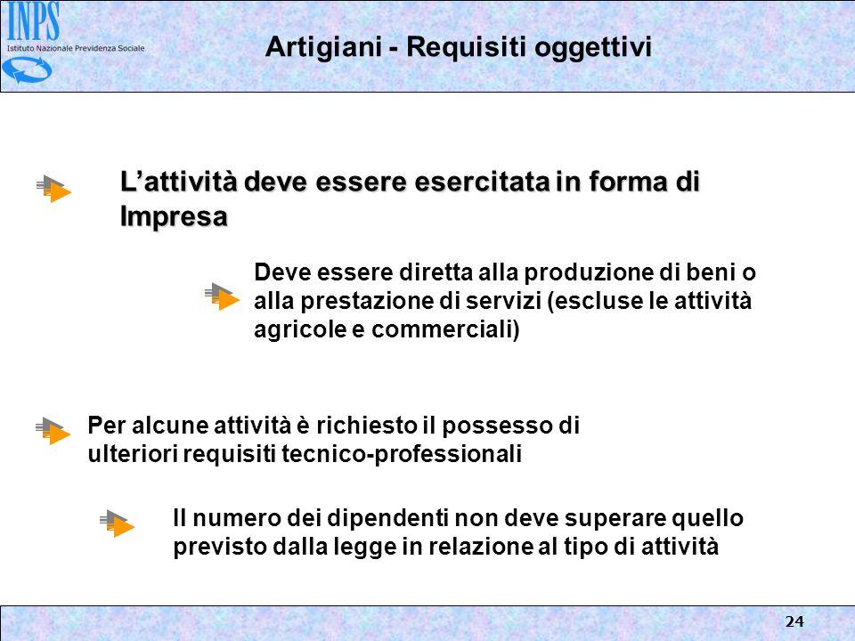 Artigiani - Requisiti oggettivi