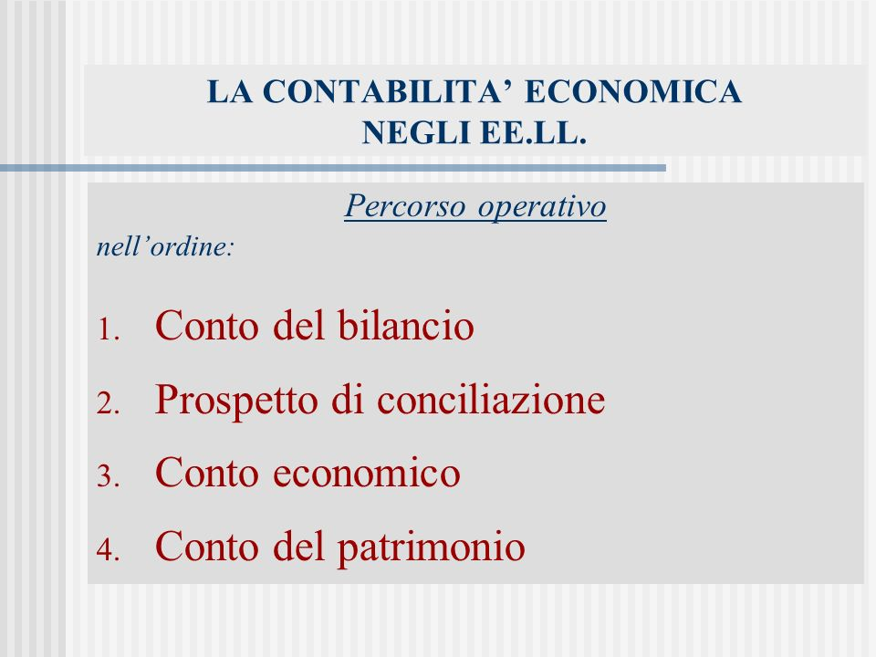 LA CONTABILITA' ECONOMICA NEGLI EE.LL.