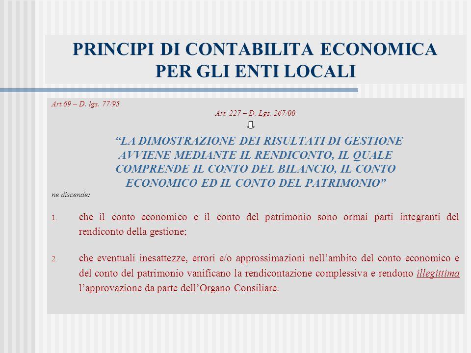 PRINCIPI DI CONTABILITA ECONOMICA PER GLI ENTI LOCALI