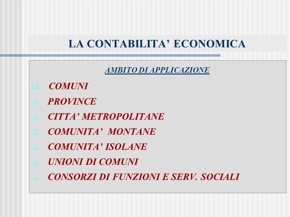 LA CONTABILITA' ECONOMICA