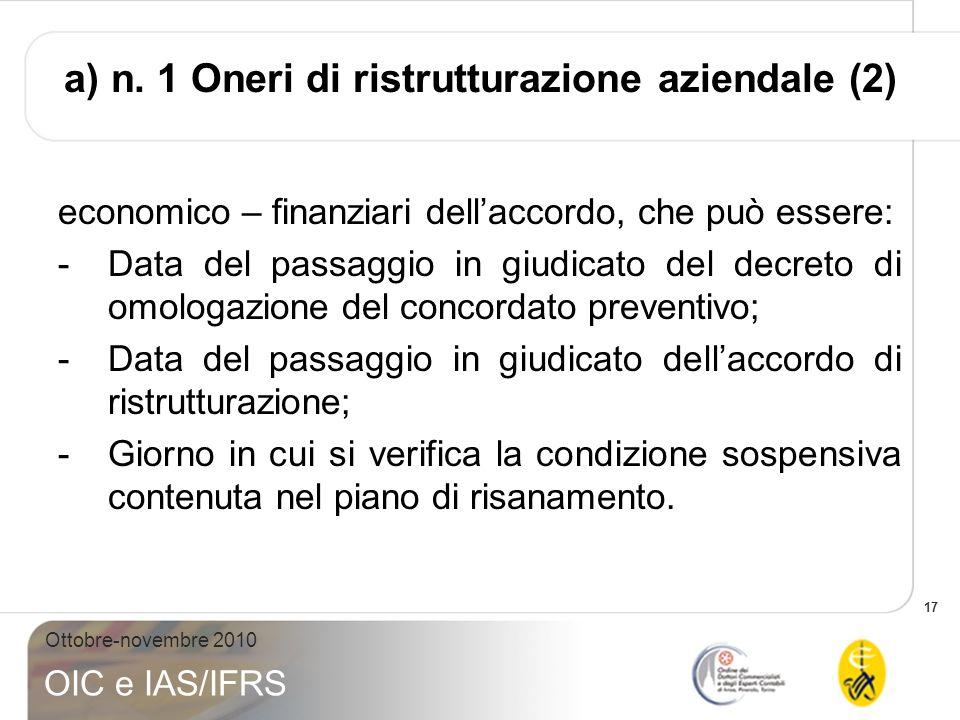 a) n. 1 Oneri di ristrutturazione aziendale (2)