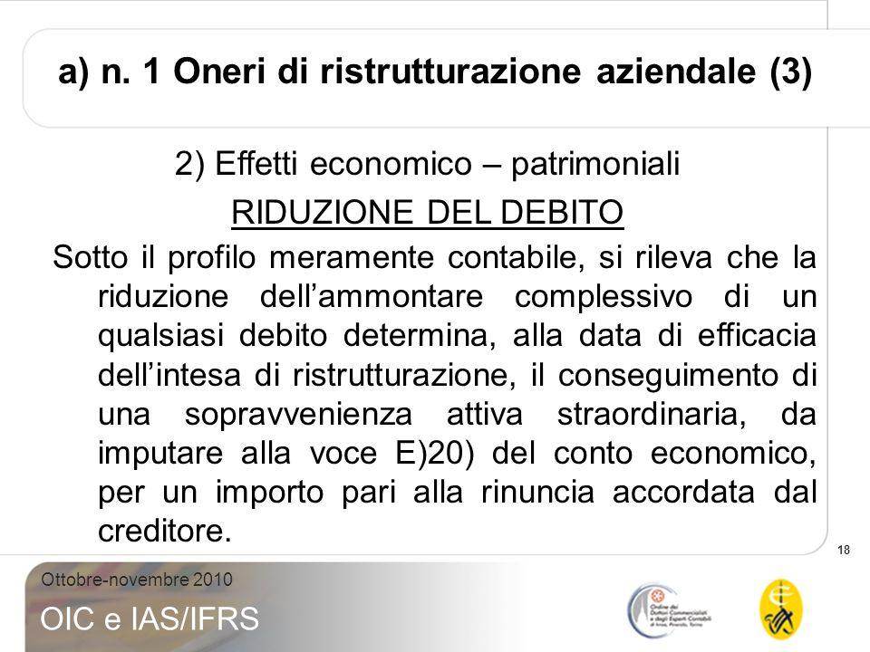 a) n. 1 Oneri di ristrutturazione aziendale (3)