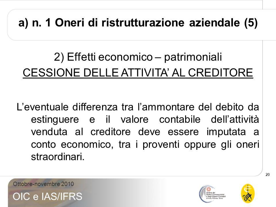 a) n. 1 Oneri di ristrutturazione aziendale (5)