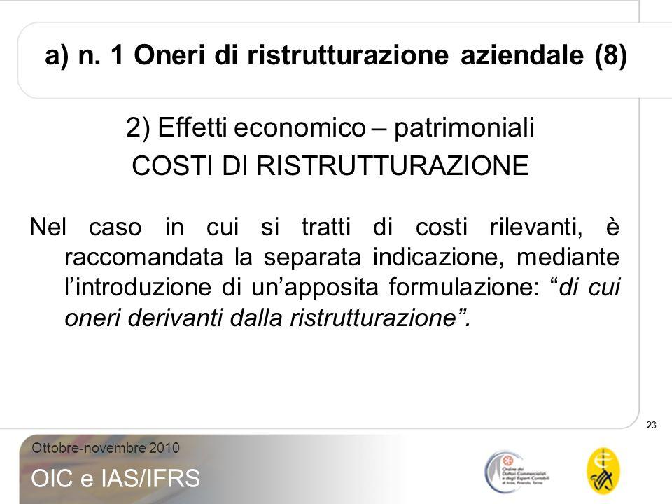 a) n. 1 Oneri di ristrutturazione aziendale (8)