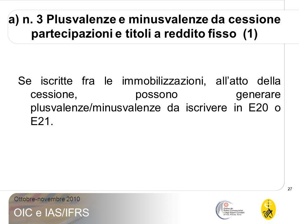 a) n. 3 Plusvalenze e minusvalenze da cessione partecipazioni e titoli a reddito fisso (1)
