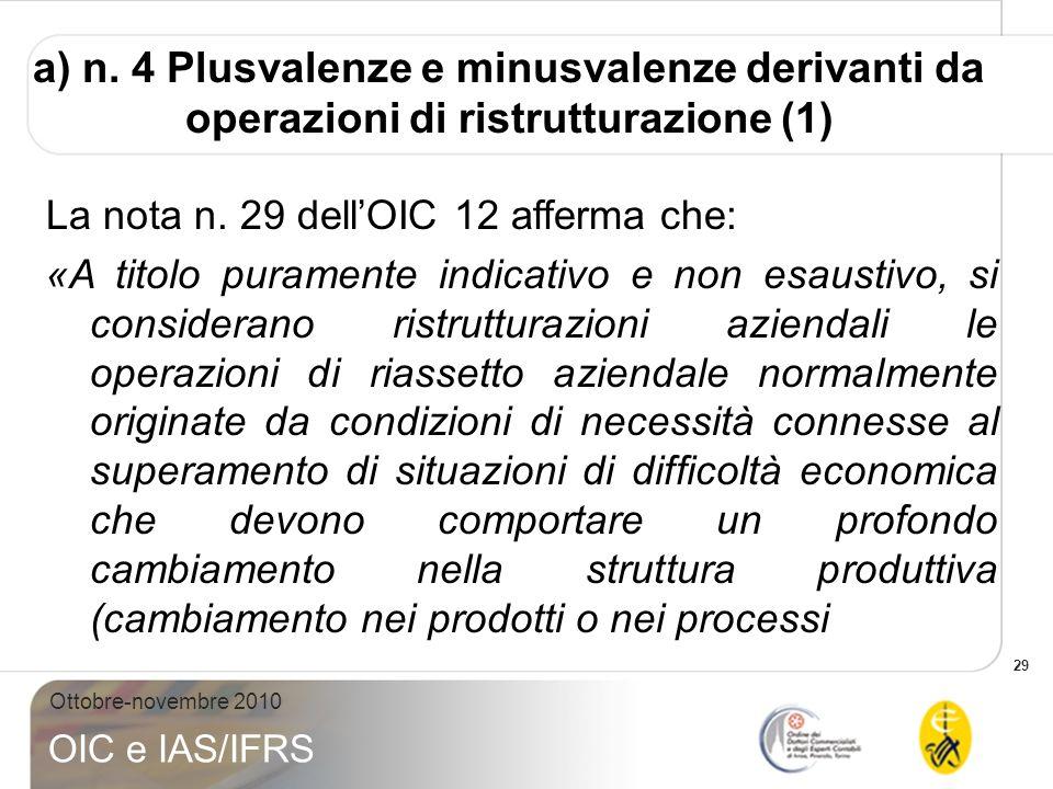 a) n. 4 Plusvalenze e minusvalenze derivanti da operazioni di ristrutturazione (1)