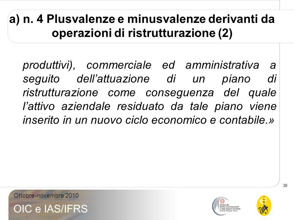 a) n. 4 Plusvalenze e minusvalenze derivanti da operazioni di ristrutturazione (2)