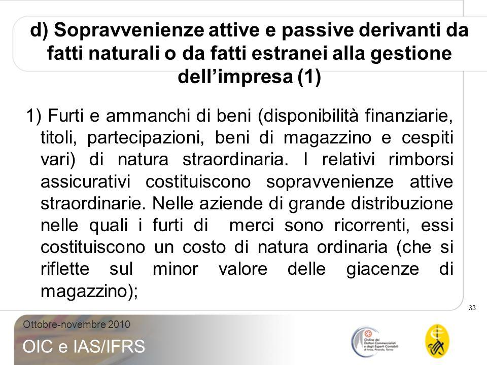 d) Sopravvenienze attive e passive derivanti da fatti naturali o da fatti estranei alla gestione dell'impresa (1)