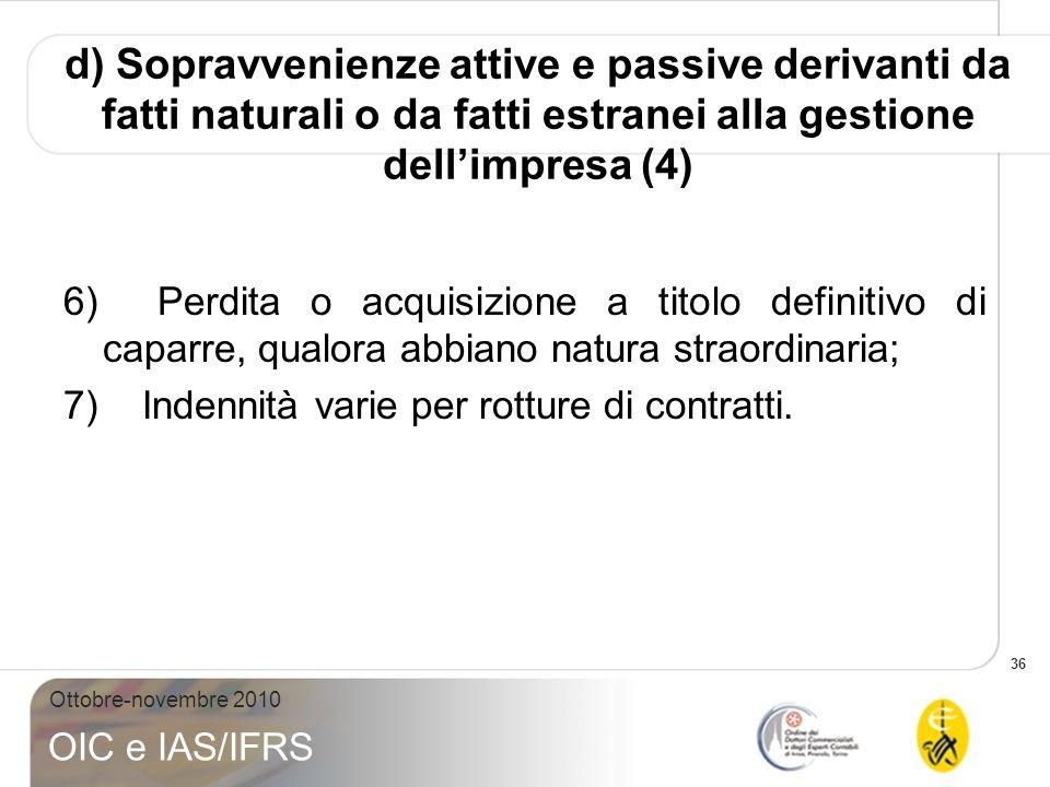 d) Sopravvenienze attive e passive derivanti da fatti naturali o da fatti estranei alla gestione dell'impresa (4)