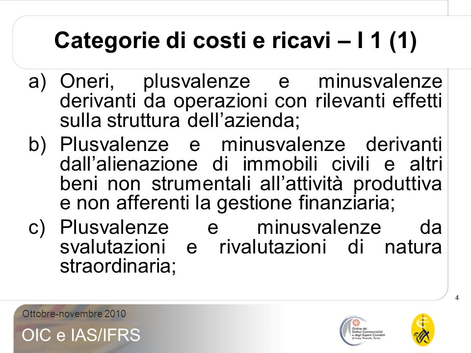 Categorie di costi e ricavi – I 1 (1)
