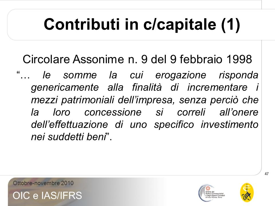 Contributi in c/capitale (1)