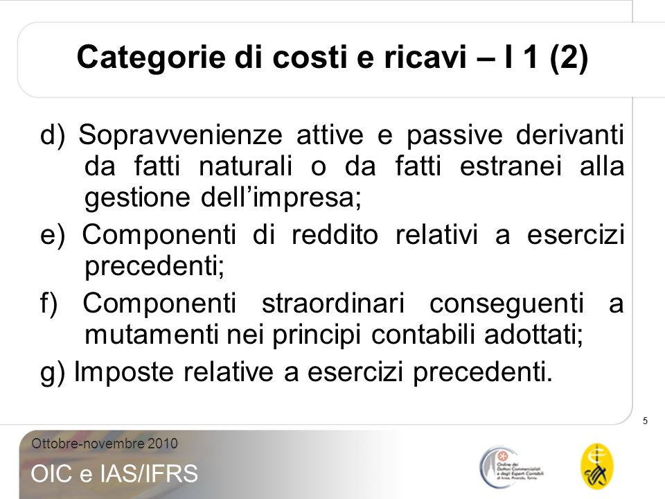 Categorie di costi e ricavi – I 1 (2)