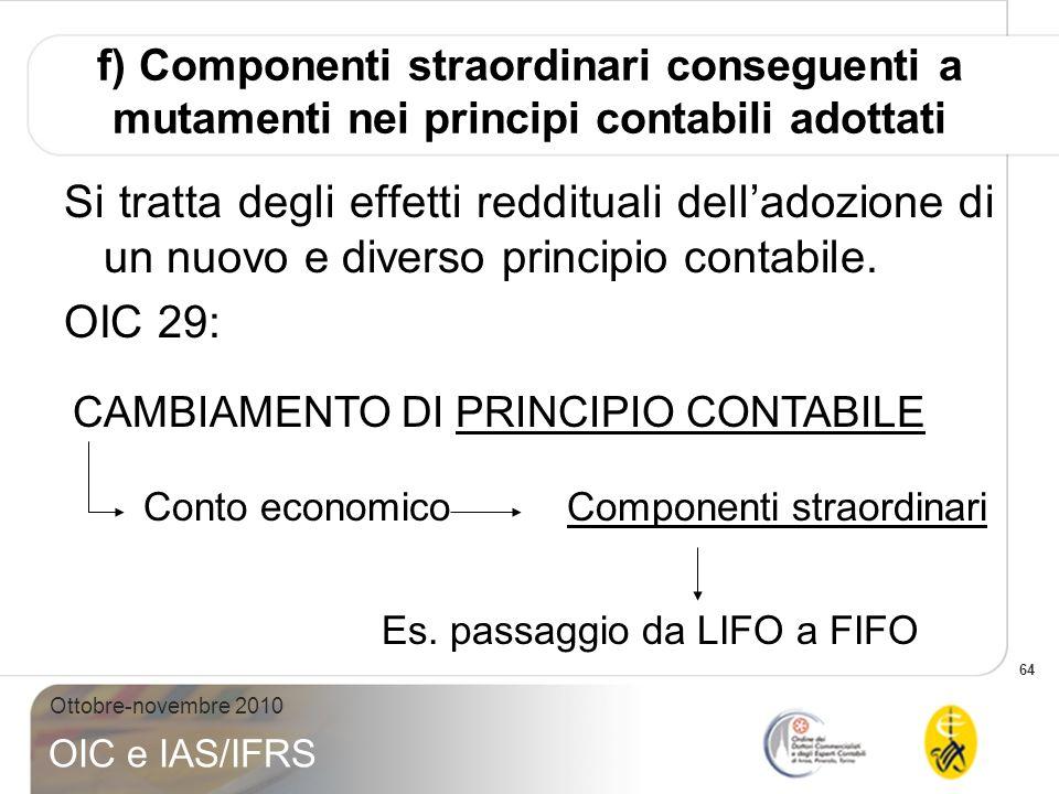 f) Componenti straordinari conseguenti a mutamenti nei principi contabili adottati