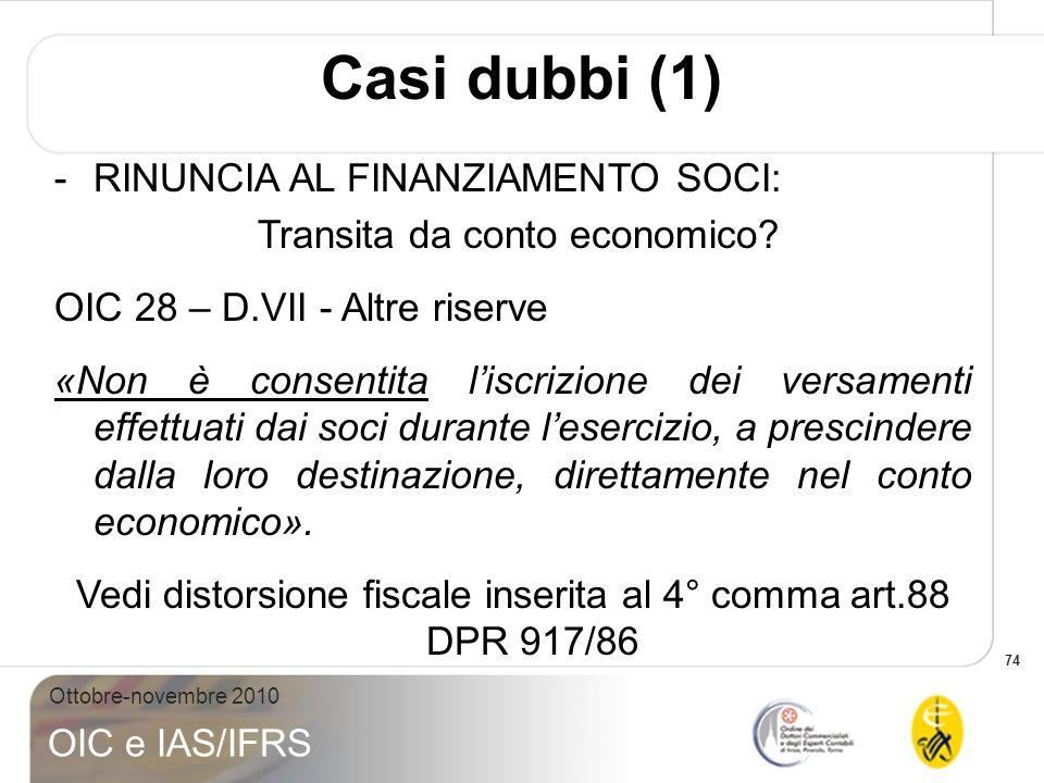 Casi dubbi (1) RINUNCIA AL FINANZIAMENTO SOCI: