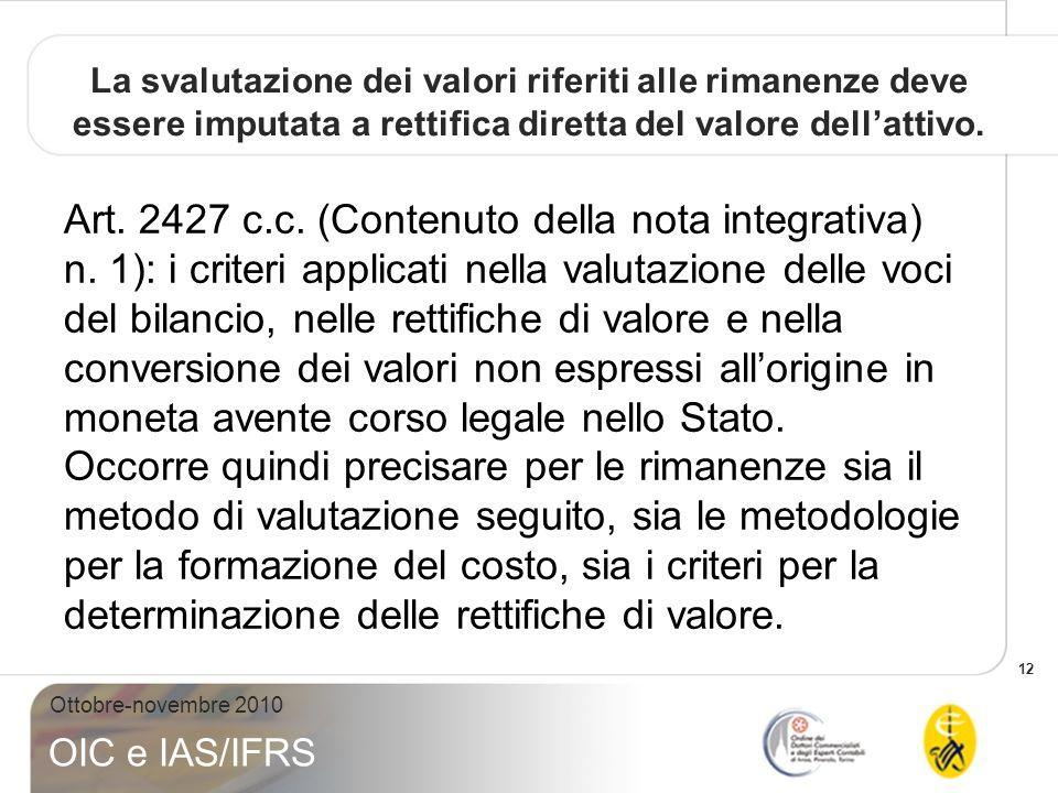 La svalutazione dei valori riferiti alle rimanenze deve essere imputata a rettifica diretta del valore dell'attivo.