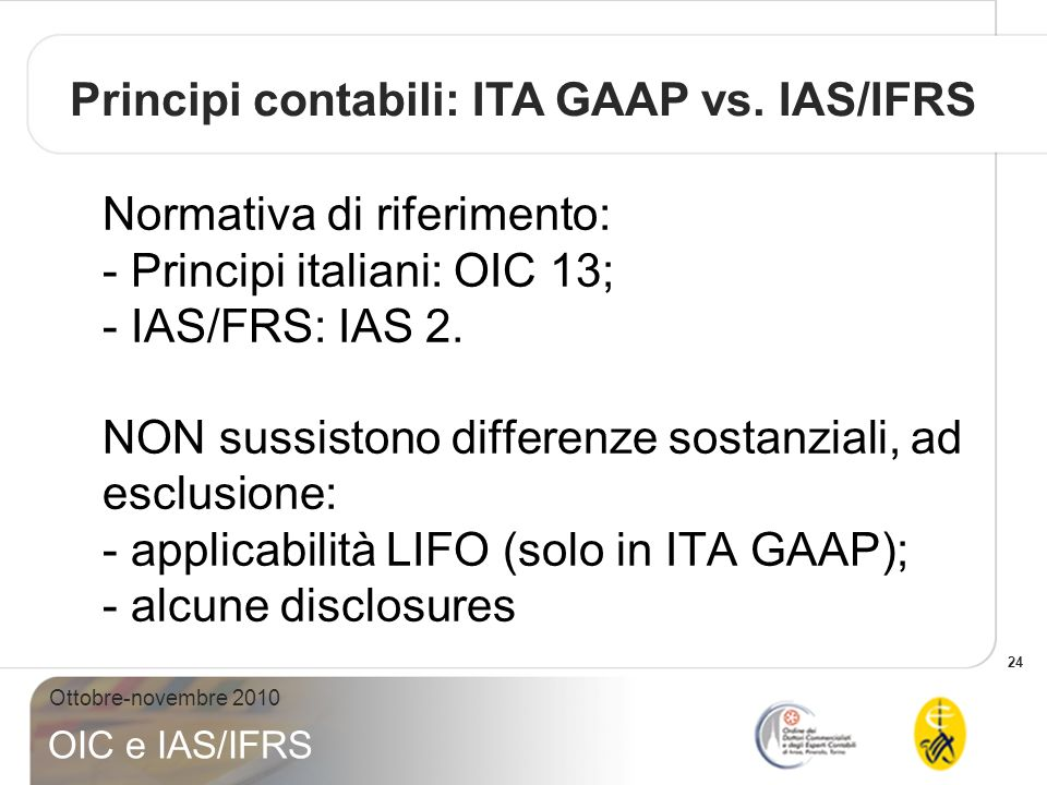 Principi contabili: ITA GAAP vs. IAS/IFRS