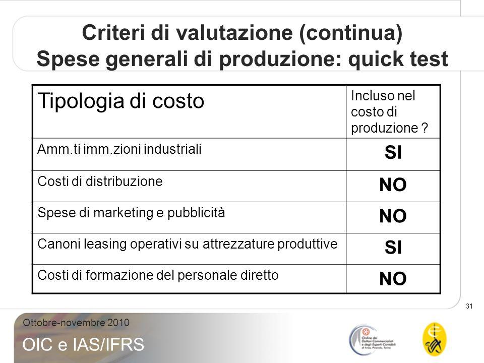 Criteri di valutazione (continua) Spese generali di produzione: quick test