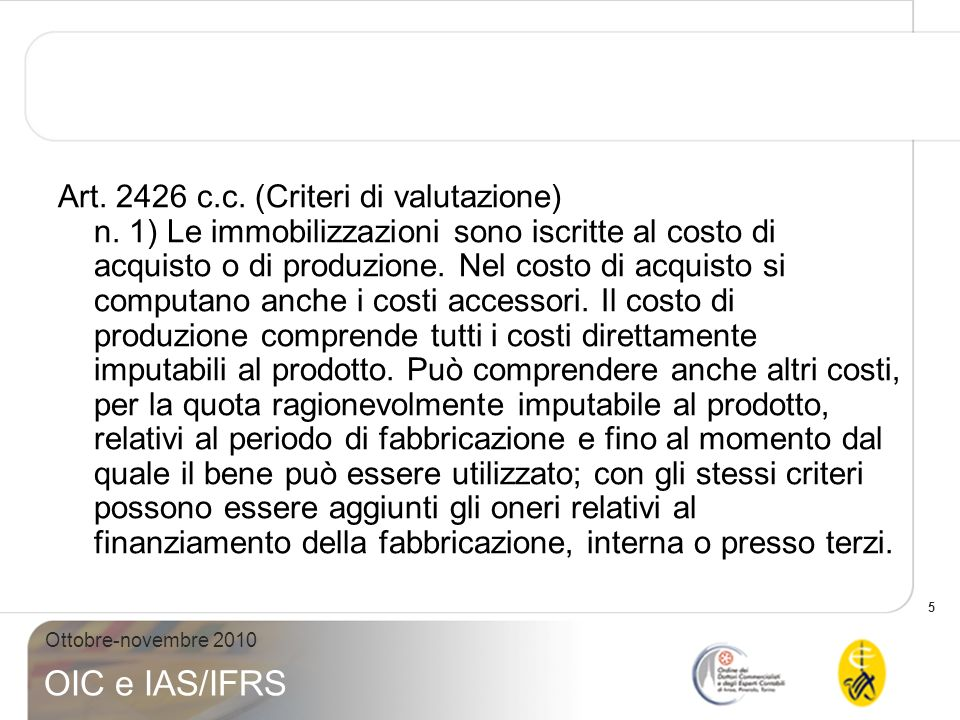 Art. 2426 c. c. (Criteri di valutazione) n