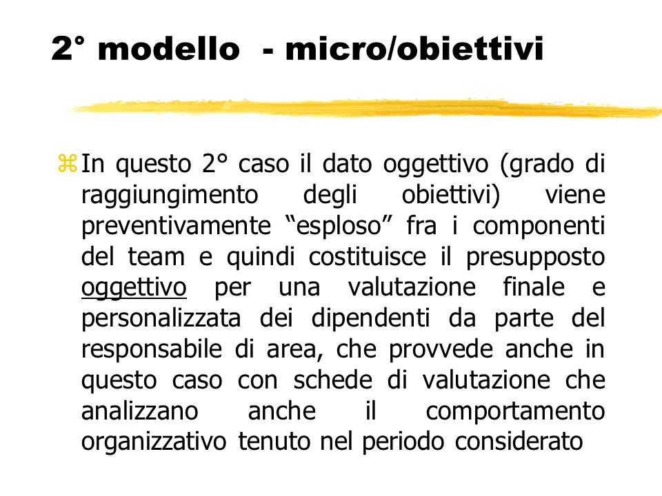2° modello - micro/obiettivi